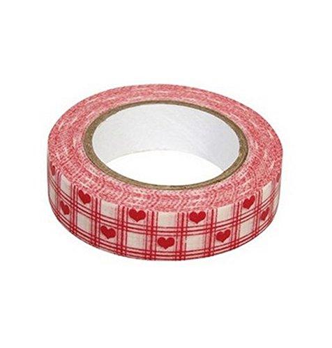 Ray - Washi tape blanc à coeurs et carreaux rouges