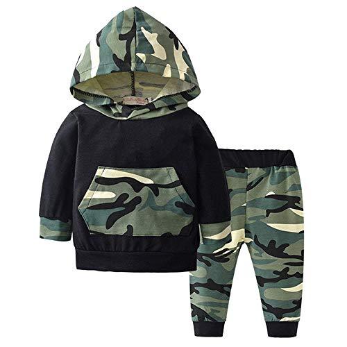 Kinderen Baby Jongens Camouflage Kleding Set Katoen Lange Mouw Hooded Tops Broek Pasgeboren Kleding Set
