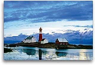 Premium Textil lienzo 45 cm x 30 cm horizontal, Noruega: Faro en una noche de verano clara imagen sobre bastidor, imagen sobre lienzo auténtico, impresión sobre lienzo (CALVENDO Natur);CALVENDO Natur