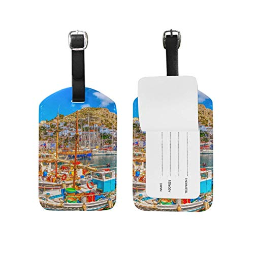 shenguang My Daily Fishing Boat Hydra Island Greece Luggage Tag PU Leather Bag Suitcases Baggage Label 1 Piece