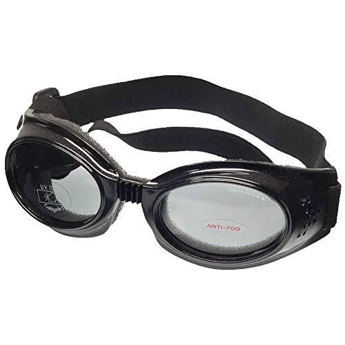 Doggles DGIL-01-L ILS Metallic Frame/Smoke Lens Hundesonnenbrille, L, schwarz
