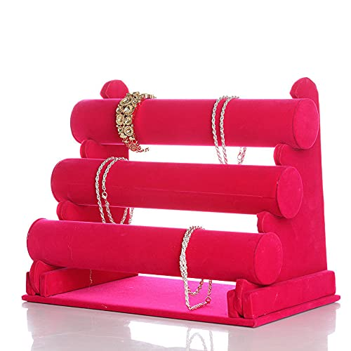 Terciopelo rosado caliente del soporte de exhibición de los relojes de las pulseras de tres niveles