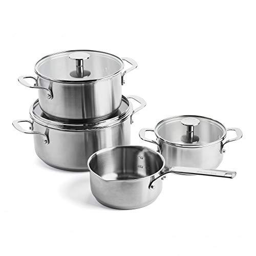 KitchenAid Topfset Edelstahl, Kochtöpfe mit Deckel und Topf mit Ausguss und Stiel, Backofen- und Spülmaschinengeeignet - 4-teilig