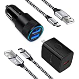 USB C Fast Charger for Samsung Galaxy S21 S20 5G FE Plus Ultra S10 S10e S9 S8 Note 20 10 9 8 A32, LG Stylo 4/5/6, G8X G7 G6 G5 V60 ThinQ Phone, Rapid Wall Charger + Car Adapter + 2 Type C Cable 3ft