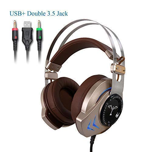 Gold Gaming Headset for PC Laptop Xbox one and PS4 with Stereo Surround Sound Noise Isolating Hidden Mic Soft Earmuffs-SKYOSKY