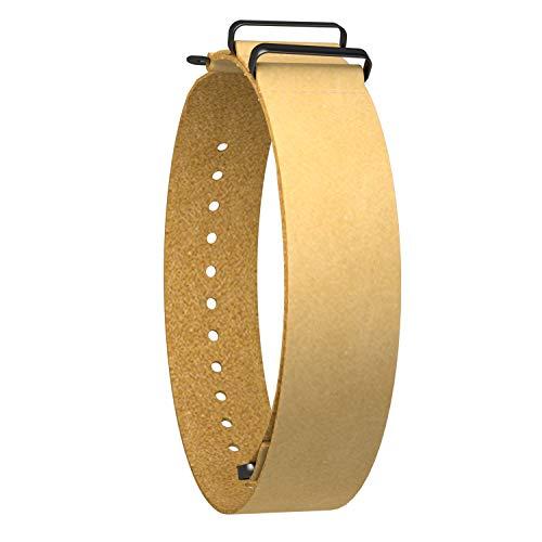 Ullchro Correa para Relojs Recambios Cuero Auténtico Becerro Correa Reloj Bordes Cosidos - 18, 20, 22, 24 mm Correa Reloj con Negro Hebilla de Acero Inoxidable (18mm, Yellow)
