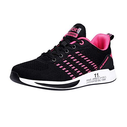 Deloito Damen Sneaker Leichte Modische Turnschuhe Fliegendes Weben Socken Sport Schuhe Schüler Freizeit Atmungsaktiv Laufschuhe (42 EU, Pink-07)