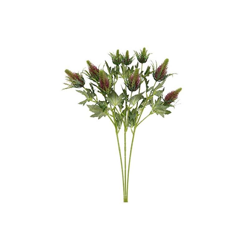silk flower arrangements xilyya 3pcs artificial thistle single spray (3 heads) craft flowers