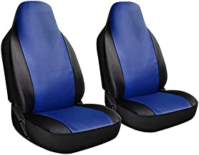 Motorup America High Back Integrated Blue Auto Bench Seat Cover Set - Fits Select Vehicles Car Truck Van SUV
