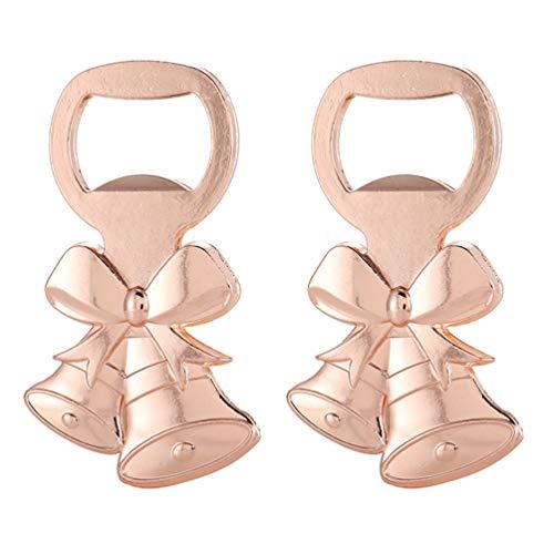 Angoily - Apribottiglie natalizio, 2 pezzi, con campanella, apribottiglie di champagne, strumento di apertura per Natale, cena, decorazione da tavolo, colore oro rosa