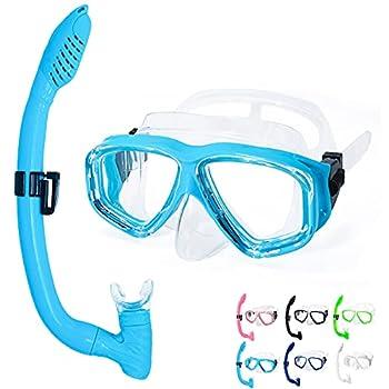 OMGear Kid Swim Mask Snorkel Set Snorkeling Gear for Kids Scuba Diving Goggles Snorkel Kit for Junior Youth Children Diving Set Aqua