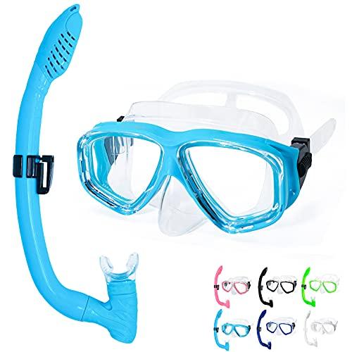 OMGear Kid Swim Mask Snorkel Set Snorkeling Gear for Kids Scuba Diving Goggles Snorkel Kit for Junior Youth Children Diving Set(Aqua)