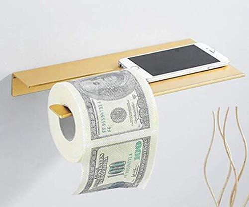 Lefran Nagel-Freie Wand Befestigte Klopapier-Halter Handy-Halter Toilettenpapier-Regal Nie Rost Badezimmer-Zubehör Für Rollenpapier-Halter, Golden