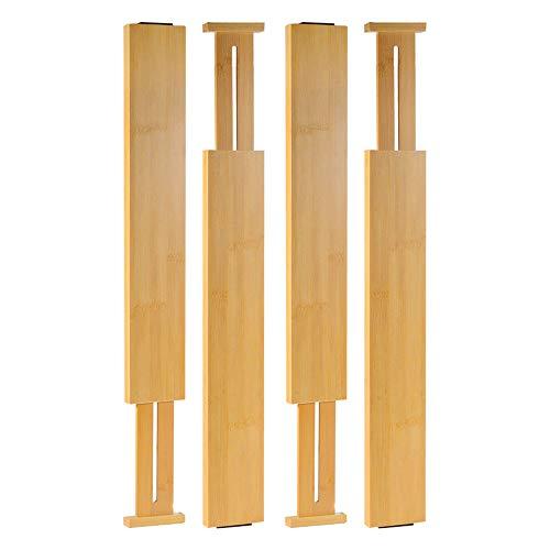 Sunix Cajón Separador de cajones de bambú Ajustable y extraíble para Cocina, cómoda, Dormitorio, cajón, Cuarto de baño o Escritorio. (Lote de 4)