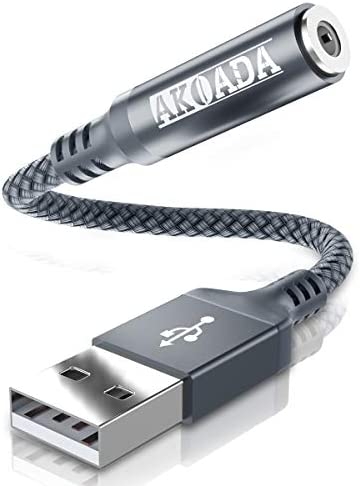 AkoaDa USB to Audio Jack Adapter 18cm External Sound Card Jack Audio Adapter with 3 5mm Aux product image