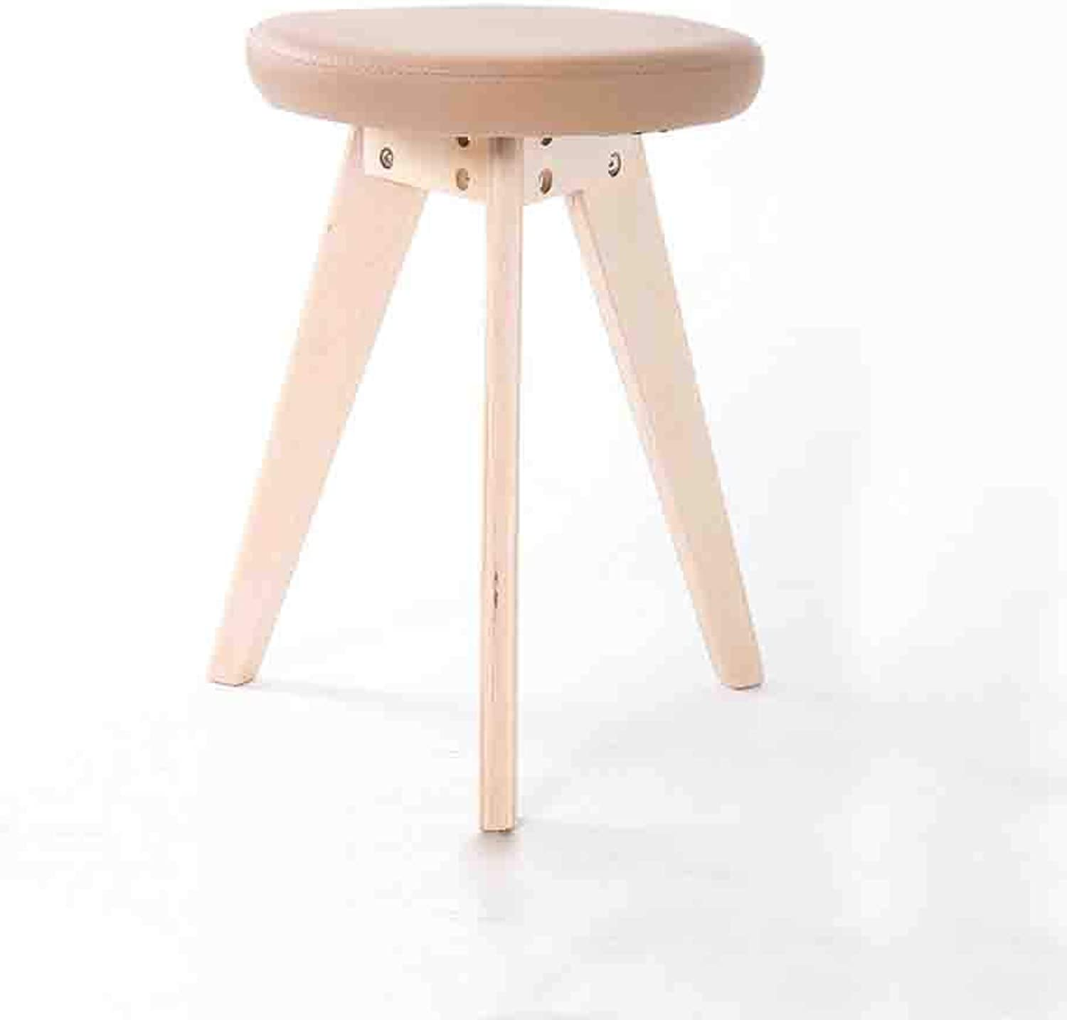 QZ HOME Stool Solid Wood Modern Simple Solid color Assemable Comfortable Cushion Stool (color   1)