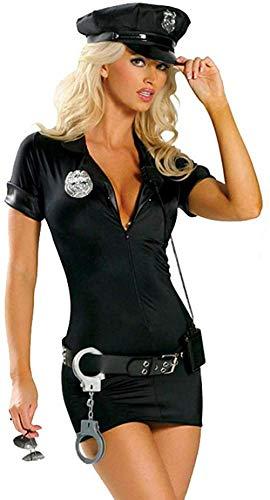 WANLOVE Sexy Polizistin Polizist Uniform Polizistinnen Kostüm Halloween Erwachsene Frauen Polizei Cosplay Fanc-schwarz_L.