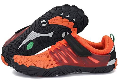 Barfußschuhe Damen Barfussschuhe Outdoor Sommer Aqua Schuhe Atmungsaktiv rutschfest Klettverschluss Frauen Traillaufschuhe Orange 41