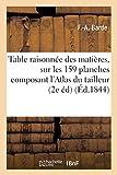 Table raisonnée des matières contenues sur les 159 planches composant l'Atlas de la science: Générale Du Tailleur: Avec Notes Explicatives; Suivie d'Observations 2e Édition (Savoirs et Traditions)