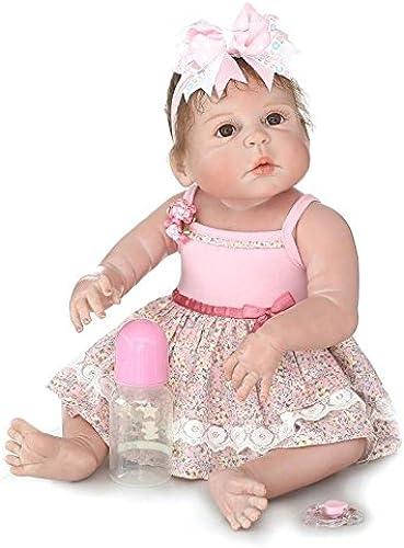 QXMEI Baby Doll Realistische Baby Silikon Babys 22 Zoll Puppe Neugeborenes Baby Doll Wie Wiedergeboren Schnuller - Puppe 57 cm