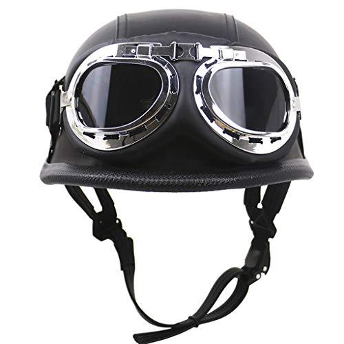 Motorbike Helmet Motorcycle Helmet German Leather Vintage Open Face Retro Half Helmet with Goggles Chopper Biker Pilot Helmet, DOT Approved, Matte Black(57-64cm)