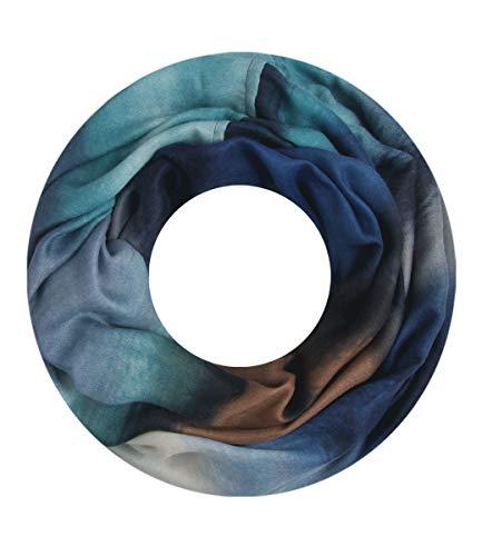 Majea NEUE Saison Damen Loop Schal viele Farben Muster Schlauchschal Halstuch in aktuellen Trendfarben (blau 8)