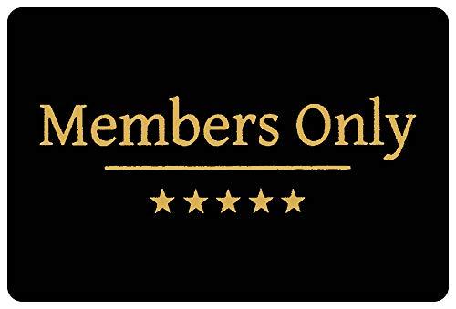 Felpudo con diseño de Members Only de alta calidad, lavable, para exteriores, antideslizante, estampado en negro, 60 x 40 cm