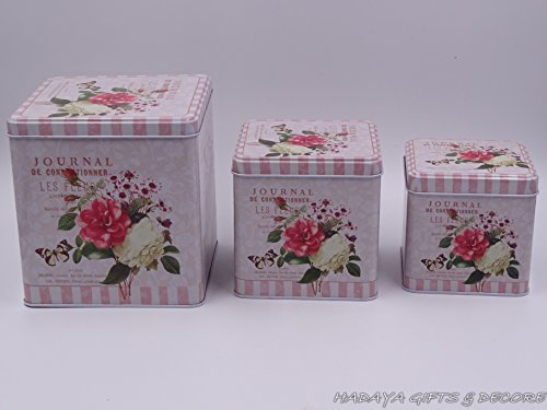 Beautiful Cookie Storage Tins, Shabby Chic, Square Shaped floral themed with floral rose design Set of 3