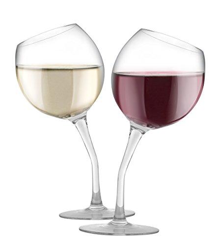 KOVOT Tipsy Wine Glass Set | Includes (2) Tilted Wine Glasses