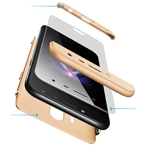 AILZH Funda movil Compatibles para Samsung Galaxy J7 2017 Carcasa+[Cristal Templado] 360 Grados Caja protección de cáscara Dura Anti-Shock Caso Mate Bumper Antichoque Case Cover Dorado(Oro)