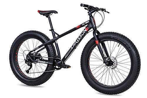 CHRISSON Bicicleta de montaña Fat Three de 26 pulgadas, color negro y rojo, Hardtail Fat Tyre Mountain Bike, bicicleta con neumáticos 4.0 grasos y 9 velocidades Shimano Alivio