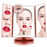 FASCINATE Lighted Makeup Mirror, Tri-fold Vanity Mirror with 36 LEDs Lights and 2X/3X/10X Magnification, Touch Screen Dimming, Dual Power Supply, 180°Rotation Light Up Mirror (Rose Gold)