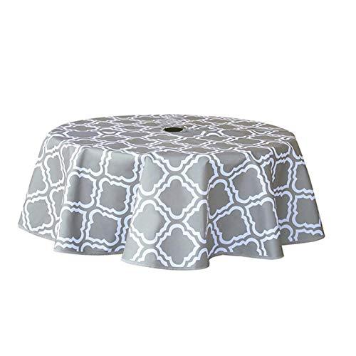N-X Mantel redondo con agujero para paraguas y cremallera, impermeable 600D Oxford tela de mesa de lino para el anfitrión, fiestas en el patio trasero, barbacoas, reuniones familiares, 152 cm