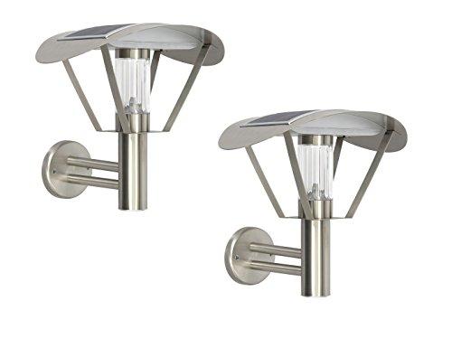 RANEX 2-delige set Solar wandlampen, LED buitenwandlamp roestvrij staal, schemeringssensor; 5000.499