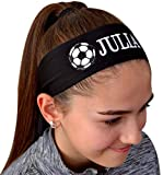Soccer Headband Moisture Wicking TIE Back Personalized with The Embroidered Name of Your Choice ( Black TIE Back )