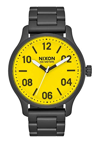 NIXON Patrol 21mm-19mm Stainless Steel Band 39mm Face - All Black/Yellow