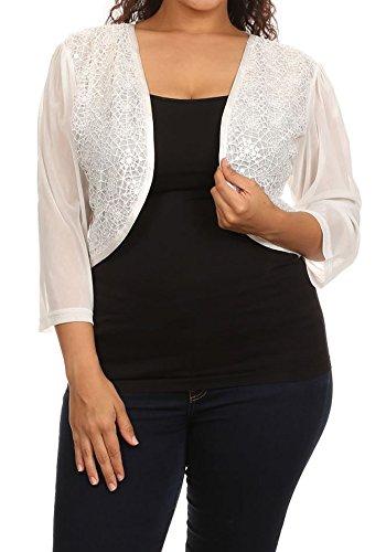 CurvyLuv.com Women's Plus Size Sequin Snowflake Bolero Shrug Jacket Holiday Sweater (2X, Ivory)