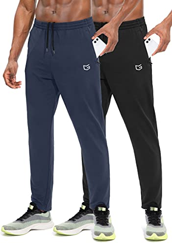 G Gradual Men's Sweatpants with Zipper Pockets Tapered Track Athletic Pants for Men Running, Exercise, Workout (2 Pack: Black/Navy Blue, Medium)