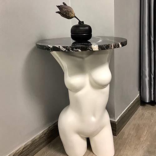 Déesse Aphrodite Décor d'art De Table De Fin,Venus De Milo Statue Table D'appoint,Sculpture De Mythologie Romaine Grecque Table D'accent-Blanc 38x38x52cm(15x15x20inch)