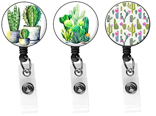 3 Different Series of Cacti Badge Reel, Retractable ID Card Badge Holder with Alligator Clip, Name Nurse Decorative Badge Reel Clip on Card Holders(3 Pack)