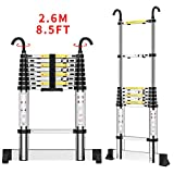Teenza® 2.6M Telescopic Ladders, Multi-Purpose Aluminium Extensionable Ladder,DIY Folding Portable Loft Ladders EN131 /150KG