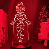Lámpara de Ilusión 3d,Lámpara Goku Figura Decoración de Dormitorio Infantil Luz Nocturna Cool Kids R...