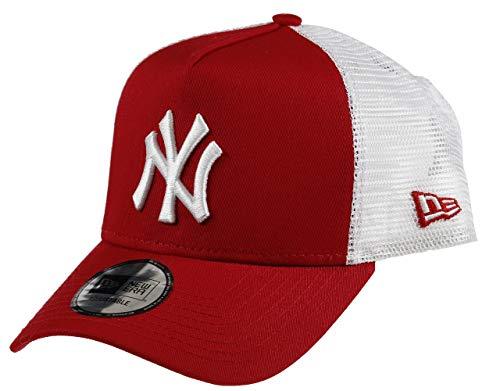 New Era New York Yankees A-Frame Adjustable Trucker Cap - Clean - Scarlet/White - One-Size