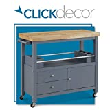 ClickDecor Anson Kitchen Island Bar Cart with Storage, Butcher Block Table, Rolling Wheels and Portable Cabinet Organization for Home Apartment Essentials, Gray