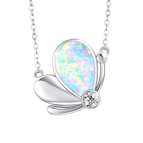 Collar de mariposa de plata de ley 925 con colgante de mariposa y cristales de ópalo con circonita cúbica, colgante de piedra de nacimiento brillante, cadena de mariposa delicada, regalo niñas