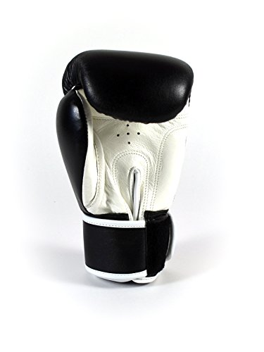 Sandee Authentic Velcro Leather Boxing Glove Black & White 16