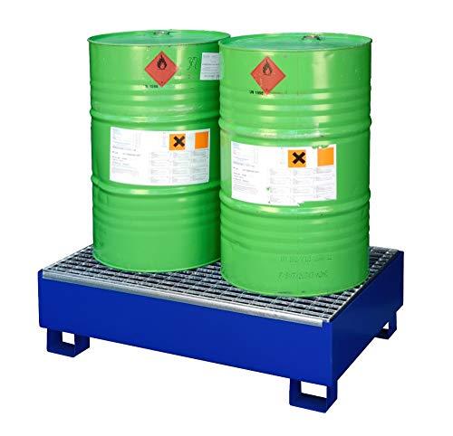 Auffangwanne Stahl lackiert für 2 Fässer à 200 l mit Gitterrost, Bodenfreiheit und Ü-Zeichen SW2