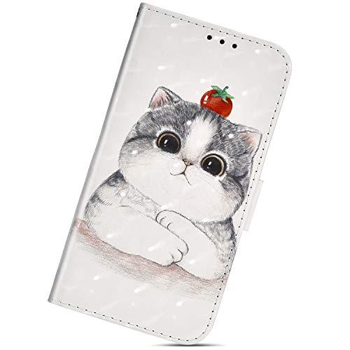 Urhause Kompatibel mit Xiaomi Pocophone F1, PU Lederhülle [3D Gemalt] Flip Ständer Wallet Handy Schutzhülle für Xiaomi Pocophone F1 mit Lanyard Standfunktion Handyhülle,Süße Katze