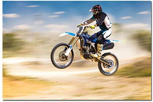 Preisvergleich Produktbild XingChen Wandbilder 70 x 90 cm mit Rahmen,  modernes Motorrad-Spiel-Poster,  Auto,  Motocross,  Seidenposter,  Motorrad-Drucke,  Sport für Männer,  Jungen,  Raumdekoration
