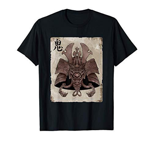 Samurai japonés arte de la máscara retro Yokai Camiseta